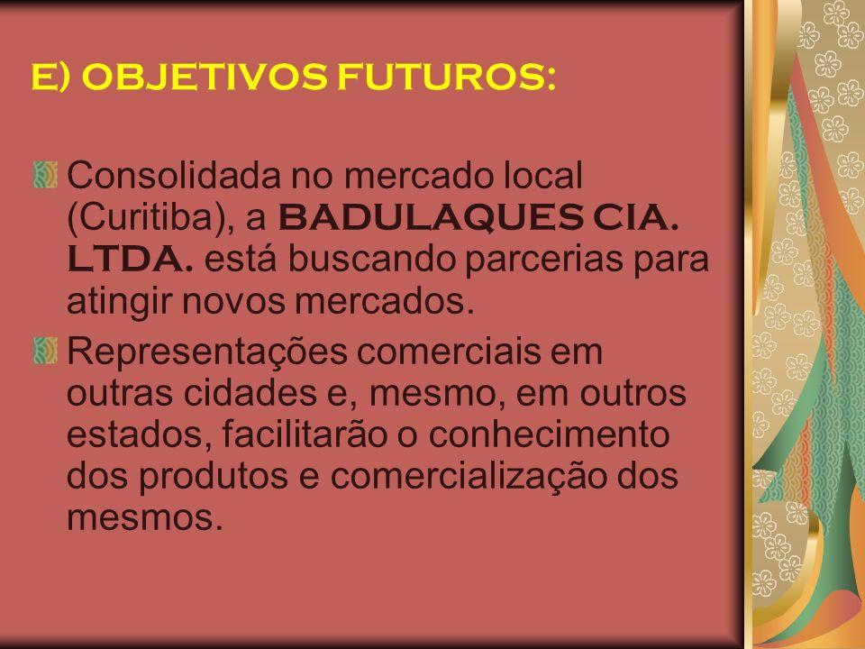 E) OBJETIVOS FUTUROS: Consolidada no mercado local (Curitiba), a BADULAQUES CIA. LTDA. está buscando parcerias para atingir novos mercados. Representa