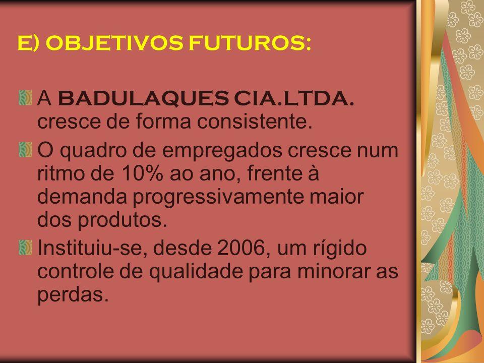 E) OBJETIVOS FUTUROS: A BADULAQUES CIA.LTDA. cresce de forma consistente. O quadro de empregados cresce num ritmo de 10% ao ano, frente à demanda prog