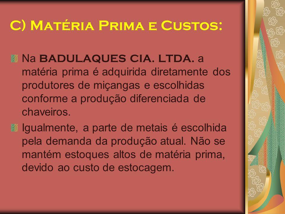 C) Matéria Prima e Custos: Na BADULAQUES CIA. LTDA. a matéria prima é adquirida diretamente dos produtores de miçangas e escolhidas conforme a produçã