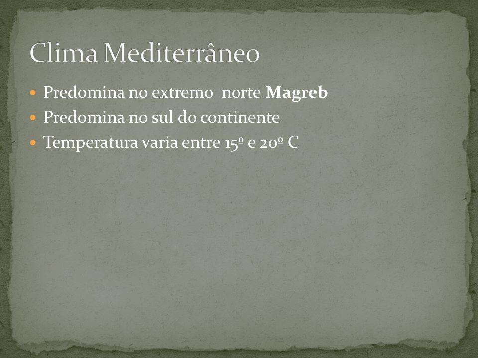 Predomina no extremo norte Magreb Predomina no sul do continente Temperatura varia entre 15º e 20º C