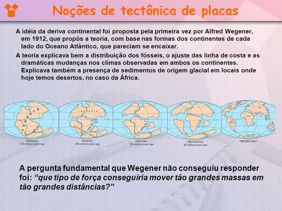Noções de tectônica de placas A idéia da deriva continental foi proposta pela primeira vez por Alfred Wegener, em 1912, que propôs a teoria, com base