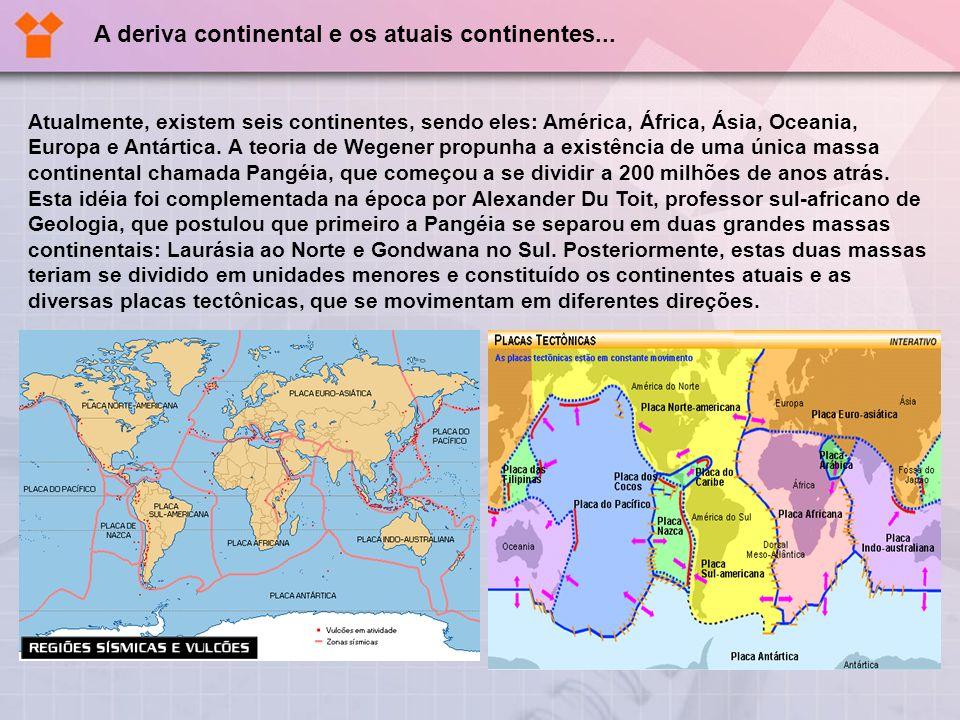 Atualmente, existem seis continentes, sendo eles: América, África, Ásia, Oceania, Europa e Antártica. A teoria de Wegener propunha a existência de uma