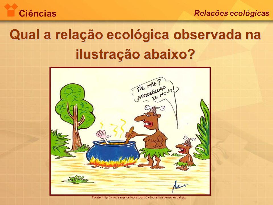 Ciências Relações ecológicas Qual a relação ecológica observada na ilustração abaixo? Fonte: http://www.sergeicartoons.com/Cartoons/imagens/canibal.jp