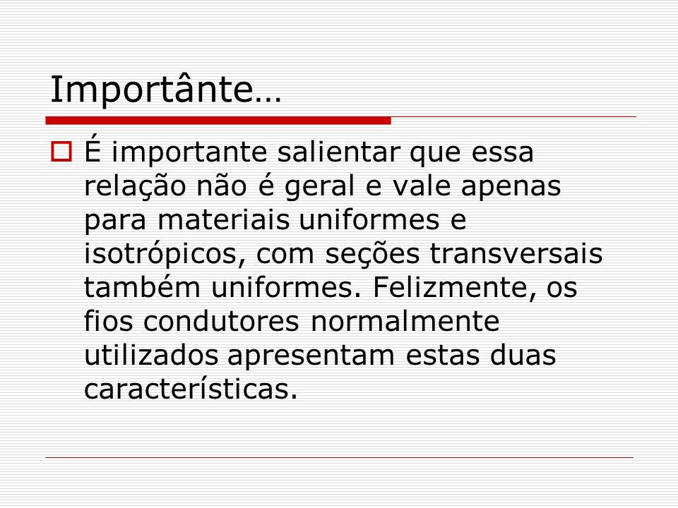 Importânte… É importante salientar que essa relação não é geral e vale apenas para materiais uniformes e isotrópicos, com seções transversais também uniformes.