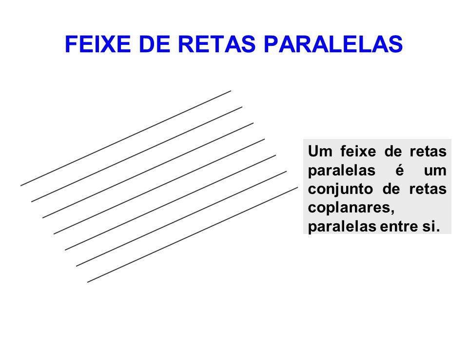 RETA TRANSVERSAL A UM FEIXE DE RETAS PARALELAS s r t u x v Toda reta contida no mesmo plano do feixe que interceptar todas as retas do feixe em um ponto, denomina-se reta transversal ao feixe de retas paralelas.