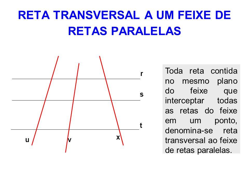 RETA TRANSVERSAL A UM FEIXE DE RETAS PARALELAS s r t u x v Toda reta contida no mesmo plano do feixe que interceptar todas as retas do feixe em um pon