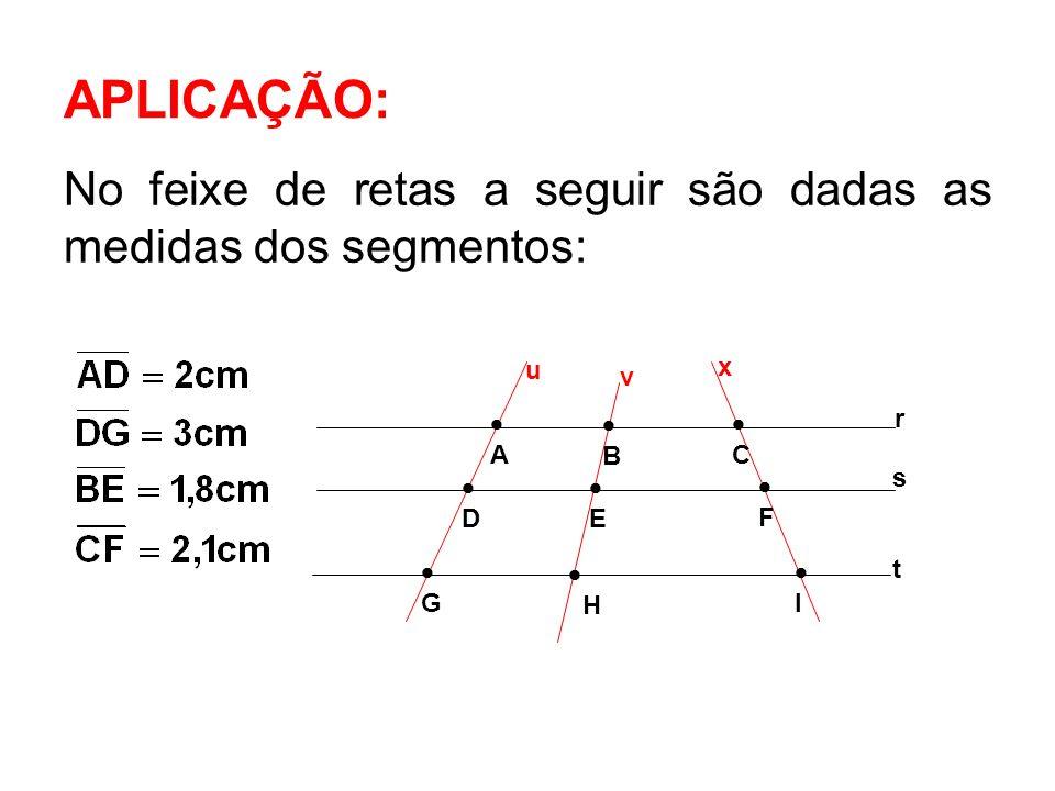 APLICAÇÃO: No feixe de retas a seguir são dadas as medidas dos segmentos: s r t A D G B C E H I F u v x