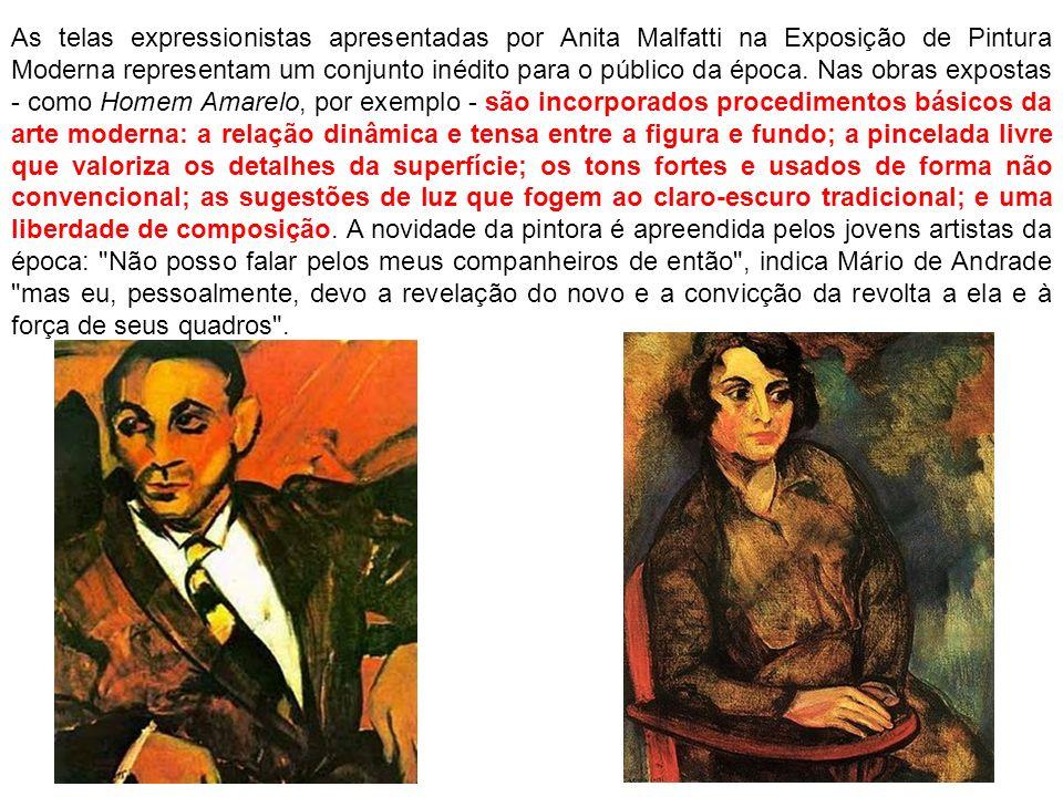As telas expressionistas apresentadas por Anita Malfatti na Exposição de Pintura Moderna representam um conjunto inédito para o público da época. Nas