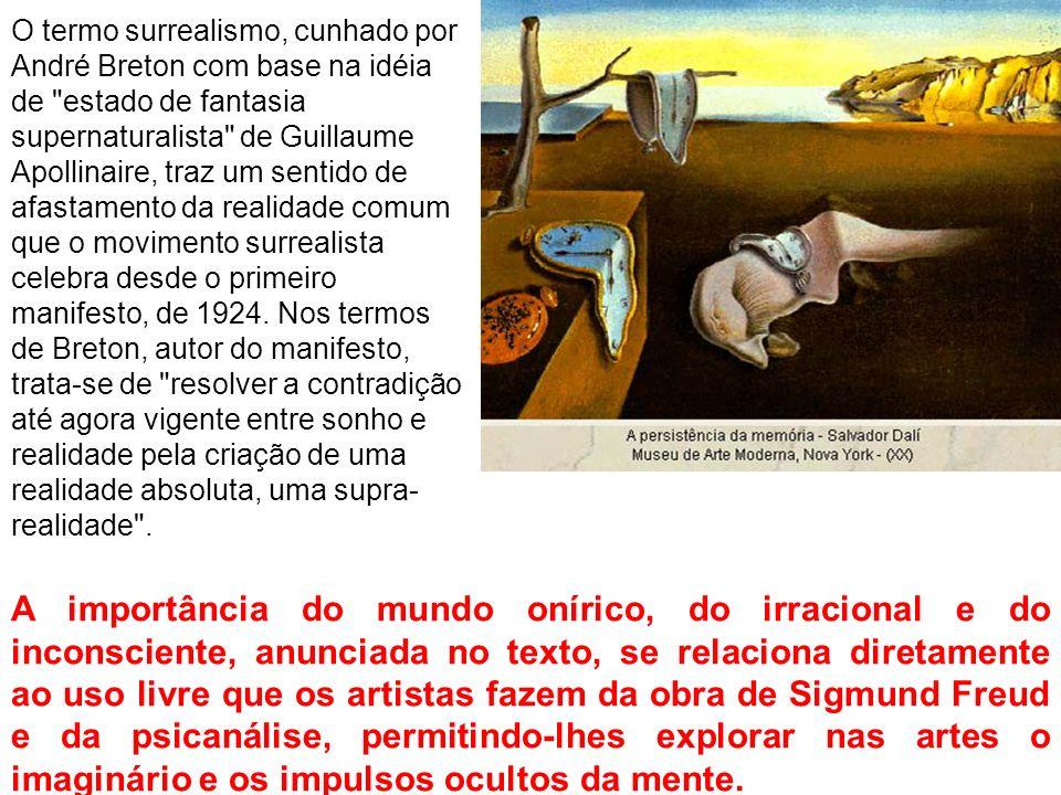O termo surrealismo, cunhado por André Breton com base na idéia de