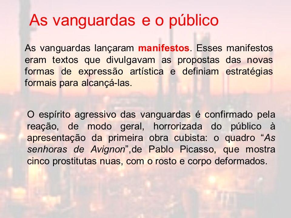 As vanguardas lançaram manifestos. Esses manifestos eram textos que divulgavam as propostas das novas formas de expressão artística e definiam estraté