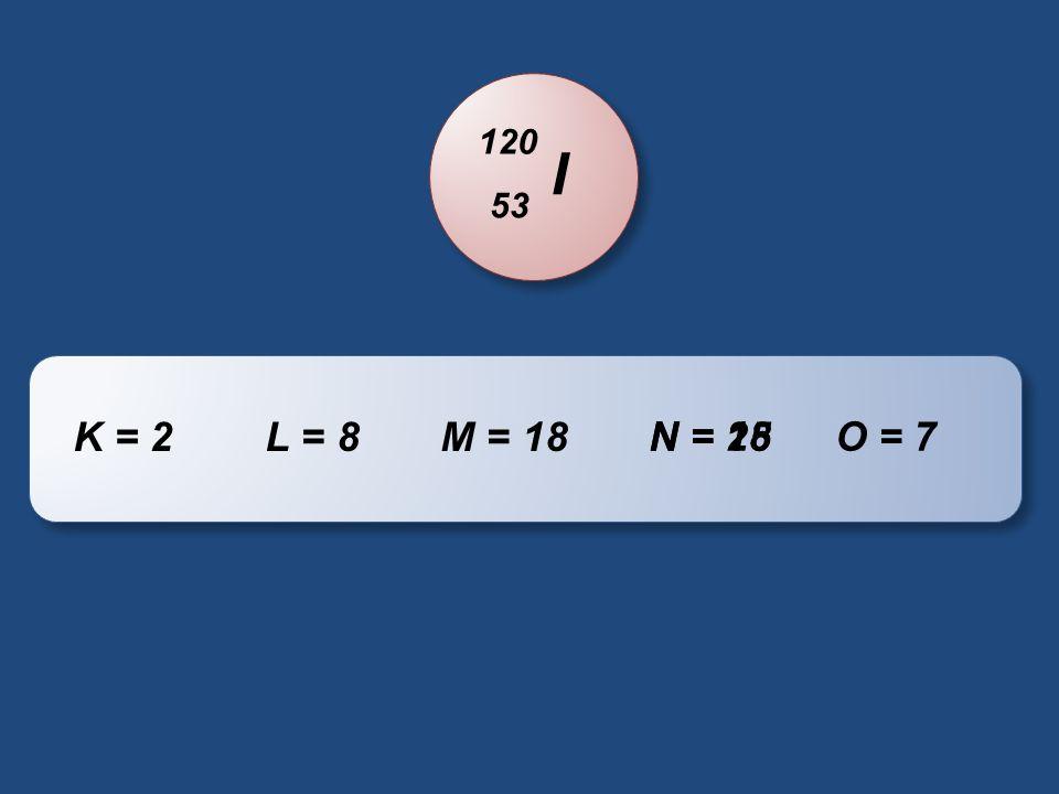 I 120 53 K = 2L = 8M = 18 O = 7N = 25N = 18