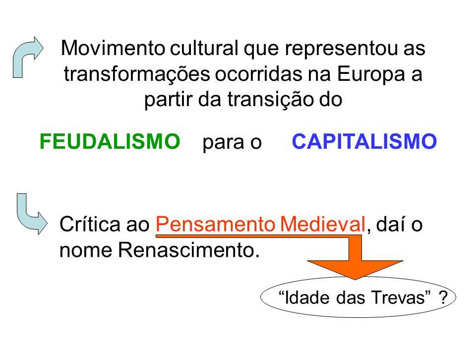 Movimento cultural que representou as transformações ocorridas na Europa a partir da transição do FEUDALISMO para o CAPITALISMO Crítica ao Pensamento
