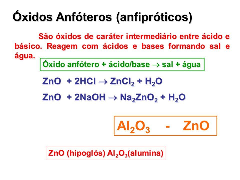 Óxidos Anfóteros (anfipróticos) São óxidos de caráter intermediário entre ácido e básico. Reagem com ácidos e bases formando sal e água. Óxido anfóter