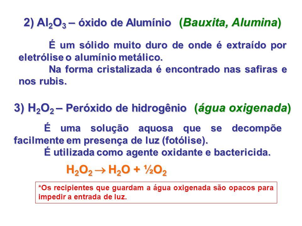 2) Al 2 O 3 – óxido de Alumínio (Bauxita, Alumina) É um sólido muito duro de onde é extraído por eletrólise o alumínio metálico. Na forma cristalizada