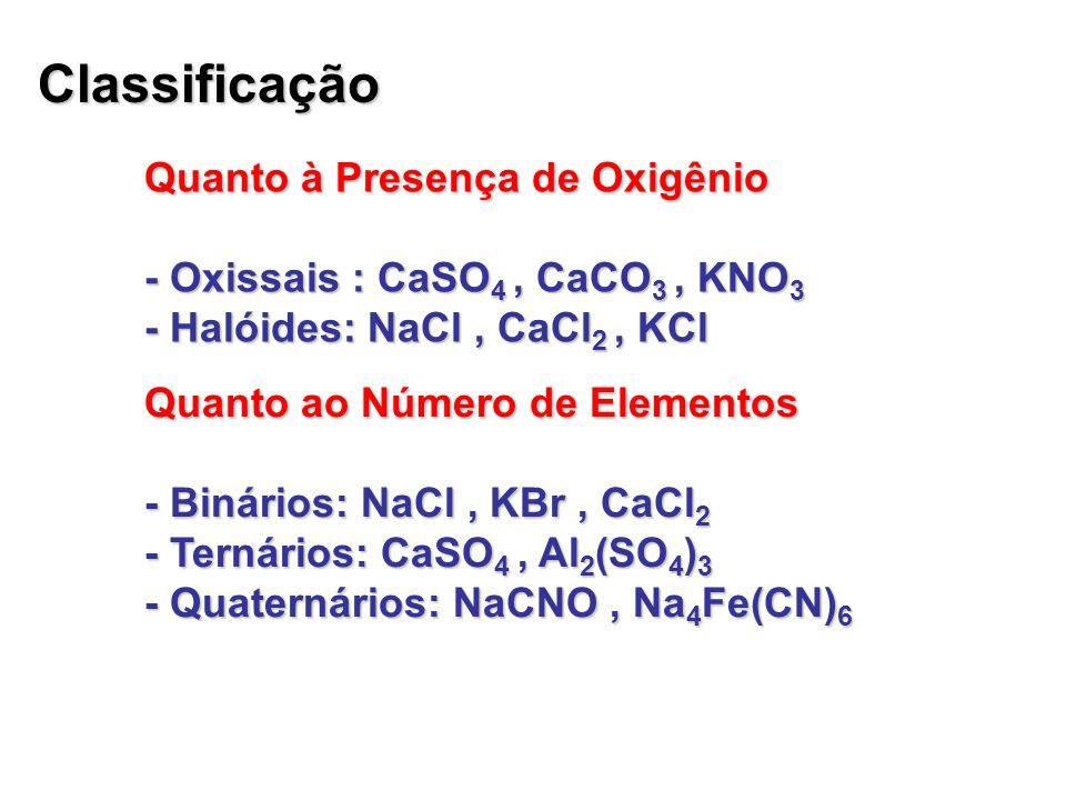Quanto à Presença de Água - Hidratados: CuSO 4.5 H 2 O; CaSO 4.2 H 2 O - Anidro: KCl; NaCl; CaSO 4 Quanto à Natureza - Neutros ou normais: NaBr; CaCO 3 - Ácidos ou Hidrogenossais: NaHCO 3 ; CaHPO 4 - Básicos ou Hidroxissais: Ca(OH)Br - Duplos ou mistos: NaKSO 4 ; CaClBr