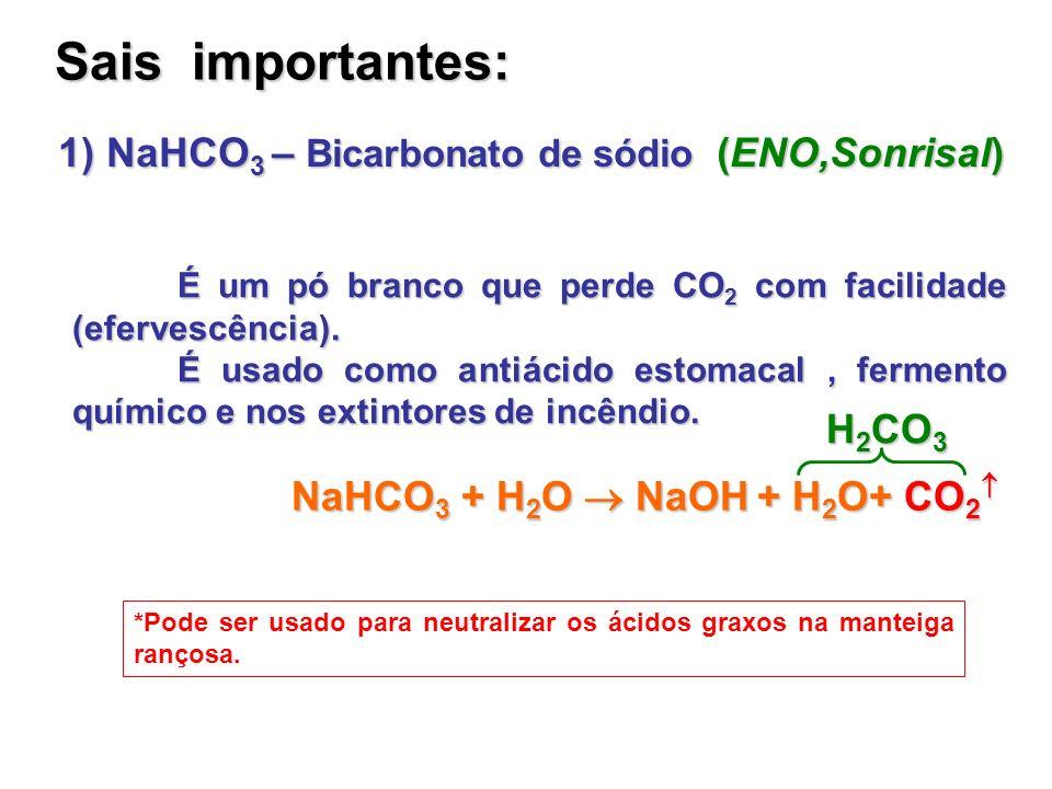Sais importantes: É um pó branco que perde CO 2 com facilidade (efervescência). É usado como antiácido estomacal, fermento químico e nos extintores de