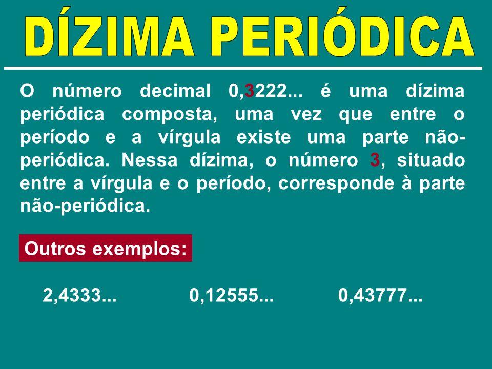 O número decimal 0,3222... é uma dízima periódica composta, uma vez que entre o período e a vírgula existe uma parte não- periódica. Nessa dízima, o n