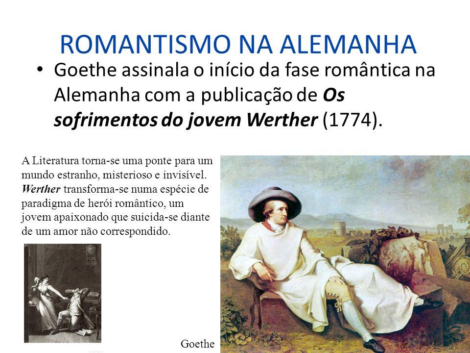 ROMANTISMO NA ALEMANHA Goethe assinala o início da fase romântica na Alemanha com a publicação de Os sofrimentos do jovem Werther (1774). Goethe A Lit