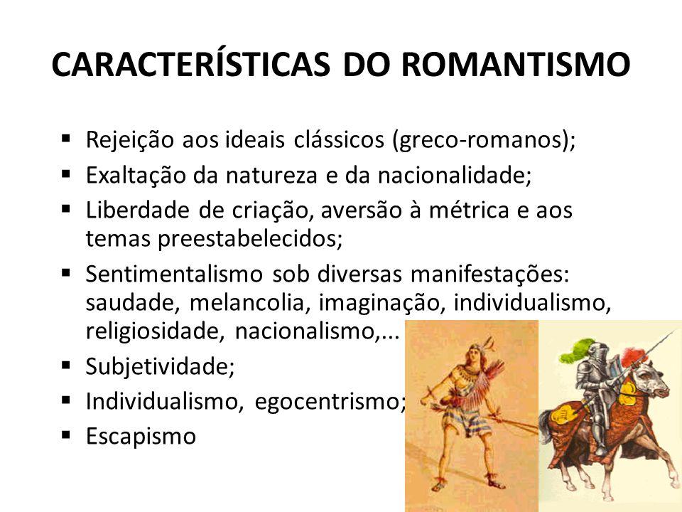 CARACTERÍSTICAS DO ROMANTISMO Rejeição aos ideais clássicos (greco-romanos); Exaltação da natureza e da nacionalidade; Liberdade de criação, aversão à