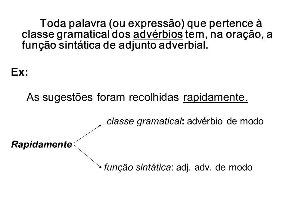 Toda palavra (ou expressão) que pertence à classe gramatical dos advérbios tem, na oração, a função sintática de adjunto adverbial. Ex: As sugestões f