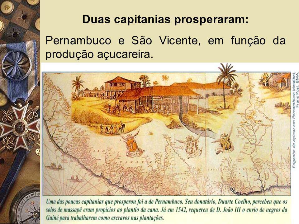 Duas capitanias prosperaram: Pernambuco e São Vicente, em função da produção açucareira.