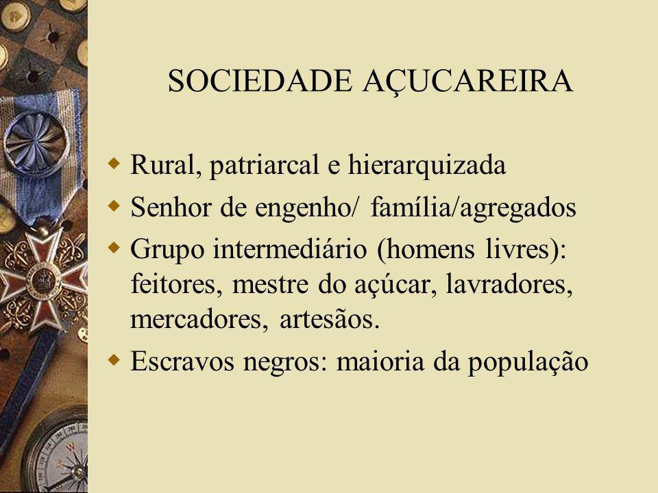 SOCIEDADE AÇUCAREIRA Rural, patriarcal e hierarquizada Senhor de engenho/ família/agregados Grupo intermediário (homens livres): feitores, mestre do a