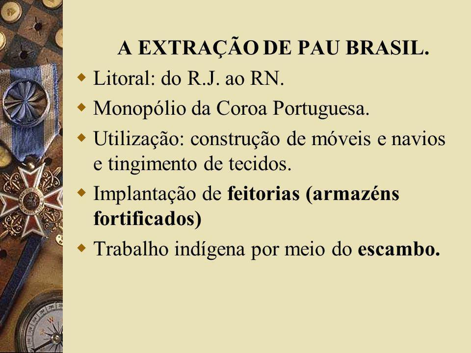 A EXTRAÇÃO DE PAU BRASIL. Litoral: do R.J. ao RN. Monopólio da Coroa Portuguesa. Utilização: construção de móveis e navios e tingimento de tecidos. Im