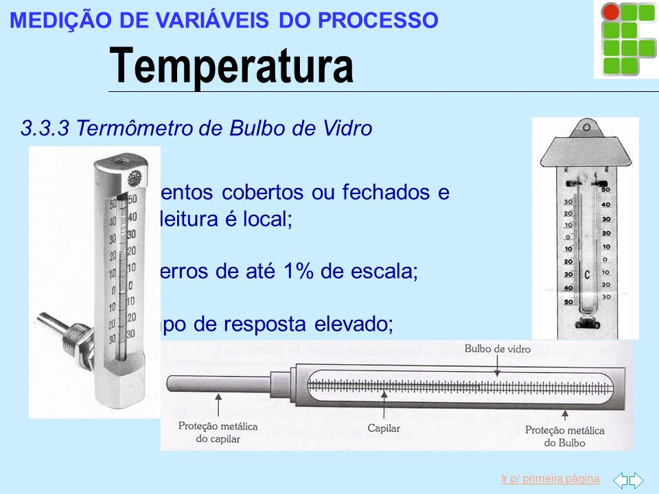 Ir p/ primeira página Temperatura MEDIÇÃO DE VARIÁVEIS DO PROCESSO 3.3.3 Termômetro de Bulbo de Vidro Compartimentos cobertos ou fechados e nos quais