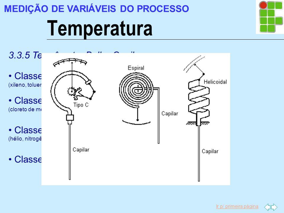 Ir p/ primeira página Temperatura MEDIÇÃO DE VARIÁVEIS DO PROCESSO 3.3.5 Termômetro Bulbo Capilar Classe I: cheio de líquido volátil (-100ºC a +300ºC)
