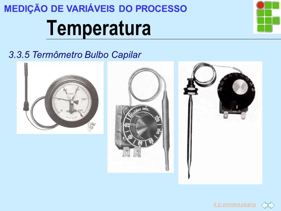 Ir p/ primeira página Temperatura MEDIÇÃO DE VARIÁVEIS DO PROCESSO 3.3.5 Termômetro Bulbo Capilar