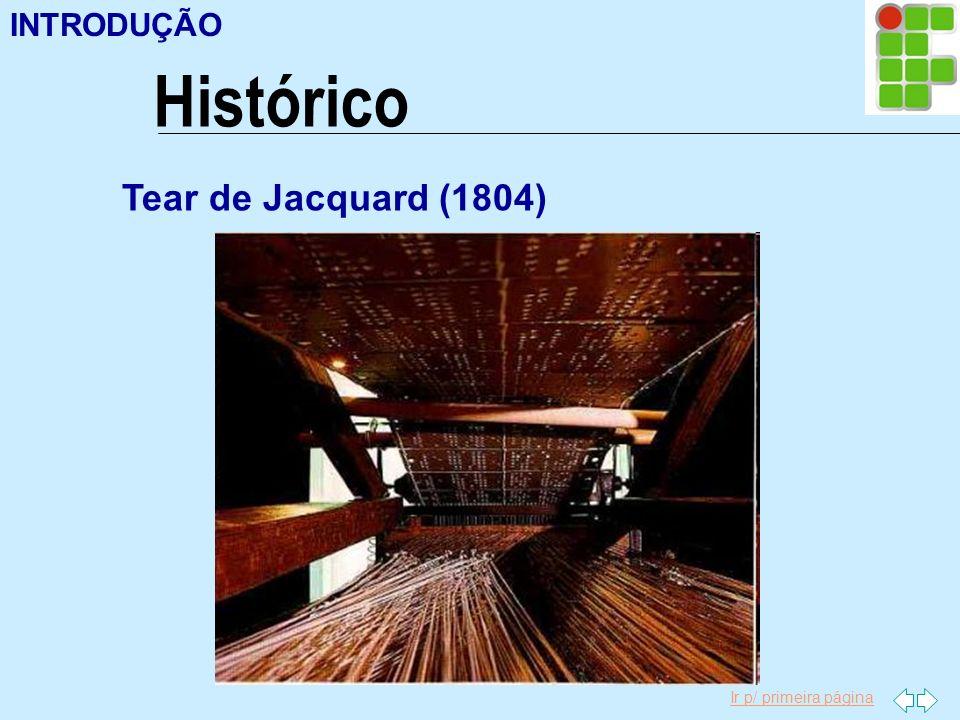 Ir p/ primeira página Histórico INTRODUÇÃO Tear de Jacquard (1804)