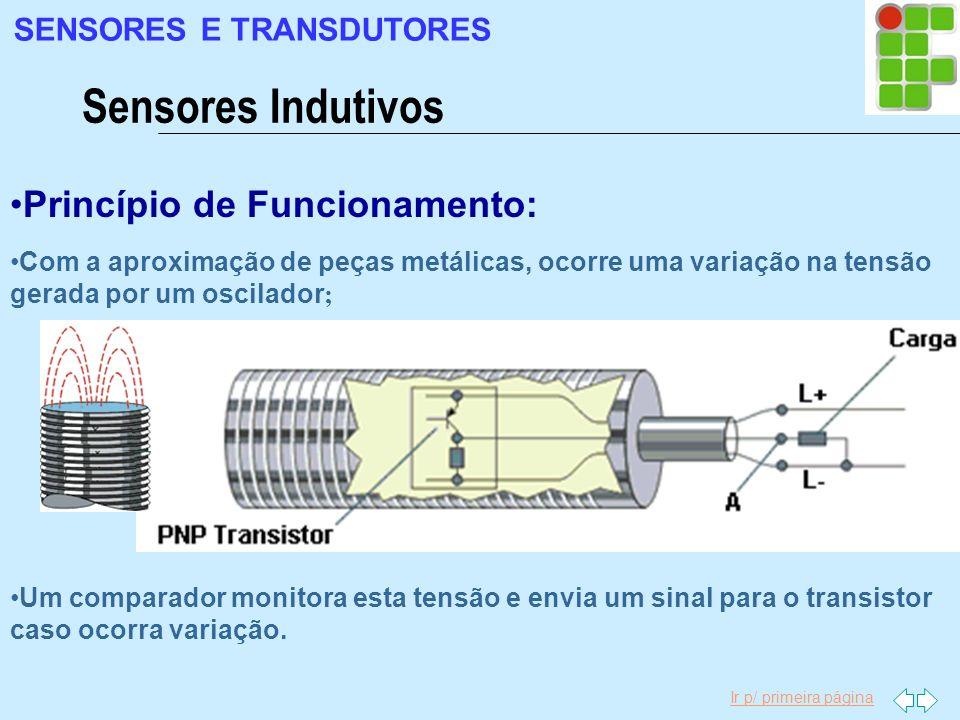 Ir p/ primeira página Com a aproximação de peças metálicas, ocorre uma variação na tensão gerada por um oscilador ; Princípio de Funcionamento: Um com