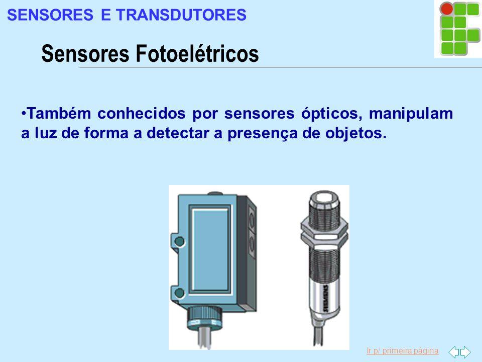 Ir p/ primeira página Também conhecidos por sensores ópticos, manipulam a luz de forma a detectar a presença de objetos. Sensores Fotoelétricos SENSOR