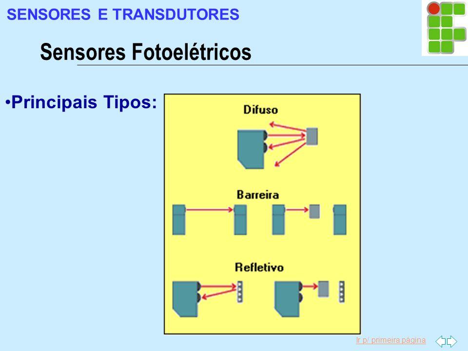 Ir p/ primeira página Principais Tipos: Sensores Fotoelétricos SENSORES E TRANSDUTORES