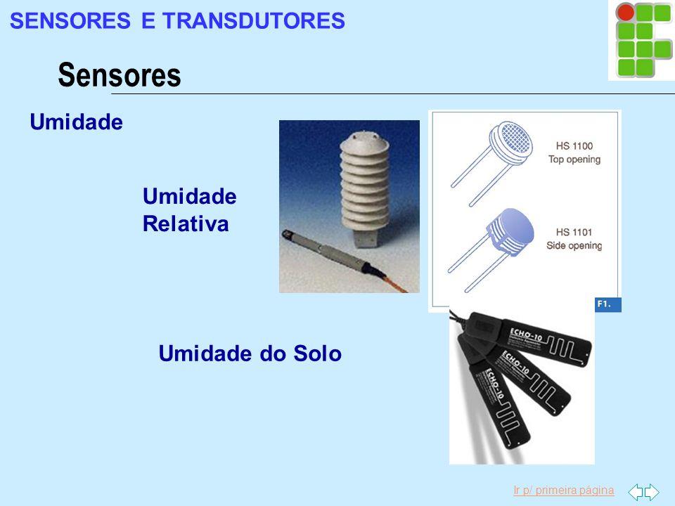 Ir p/ primeira página Umidade Sensores SENSORES E TRANSDUTORES Umidade Relativa Umidade do Solo