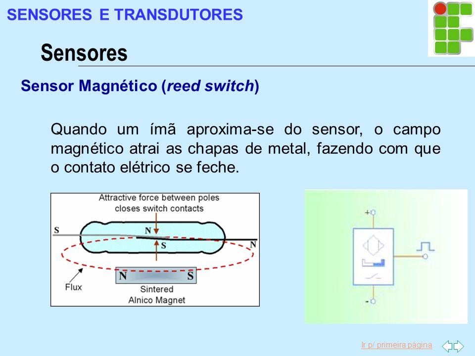 Ir p/ primeira página Sensor Magnético (reed switch) Sensores SENSORES E TRANSDUTORES Quando um ímã aproxima-se do sensor, o campo magnético atrai as