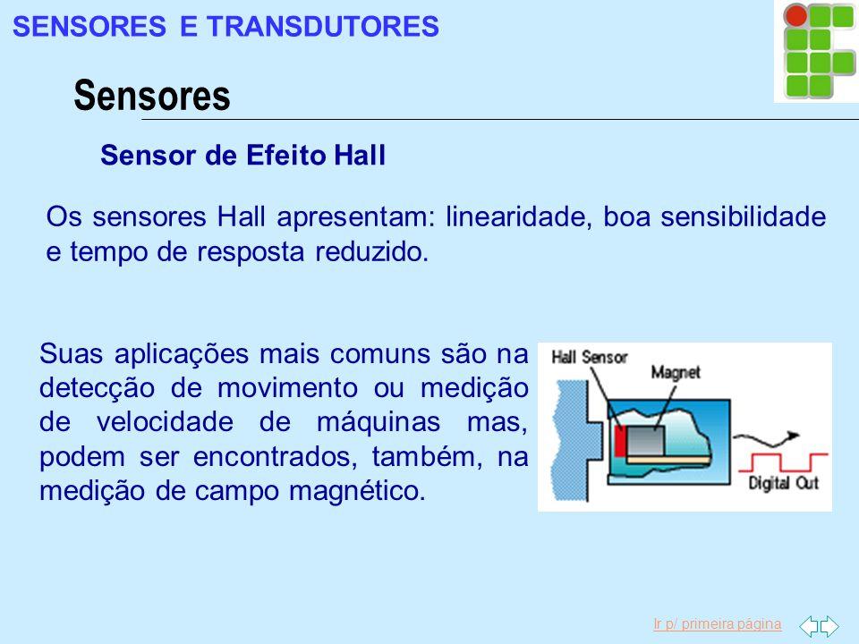 Ir p/ primeira página Sensores SENSORES E TRANSDUTORES Sensor de Efeito Hall Os sensores Hall apresentam: linearidade, boa sensibilidade e tempo de re
