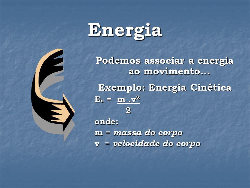 Energia Podemos associar a energia ao movimento...