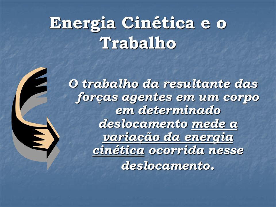 Energia Cinética e o Trabalho O trabalho da resultante das forças agentes em um corpo em determinado deslocamento mede a variação da energia cinética ocorrida nesse deslocamento.