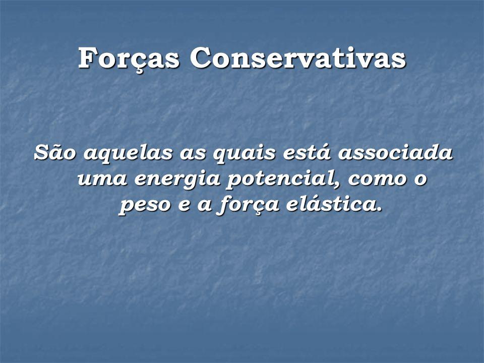 Forças Conservativas São aquelas as quais está associada uma energia potencial, como o peso e a força elástica.