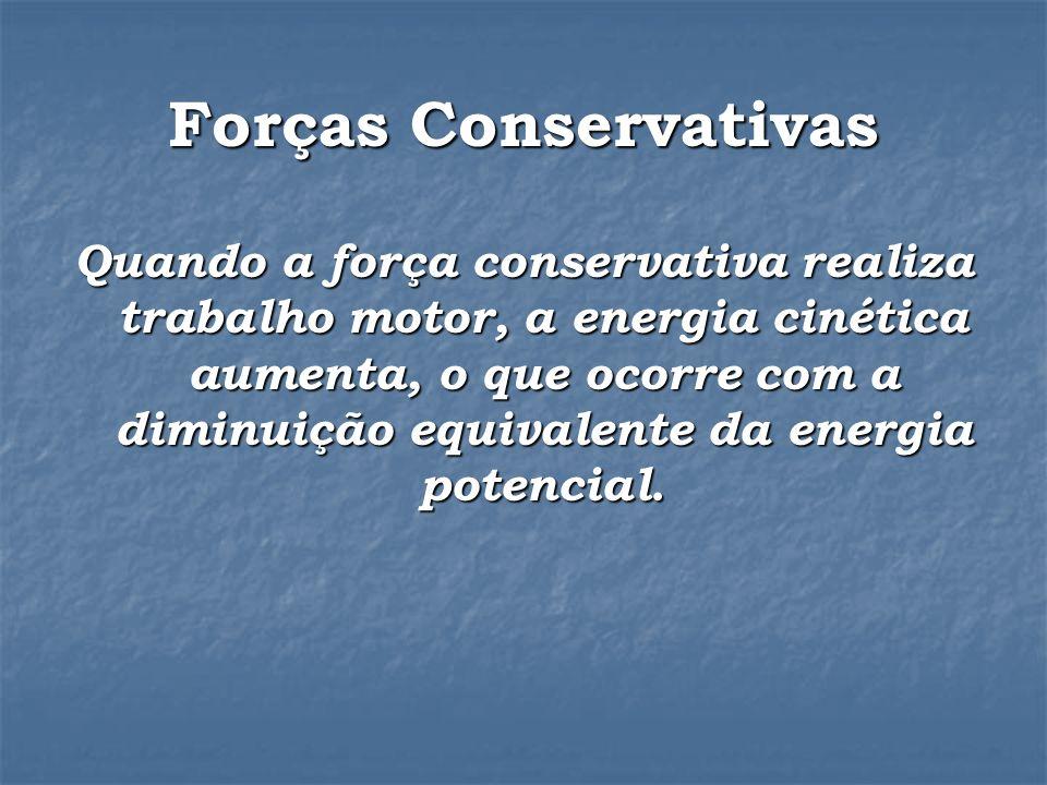 Forças Conservativas Quando a força conservativa realiza trabalho motor, a energia cinética aumenta, o que ocorre com a diminuição equivalente da energia potencial.