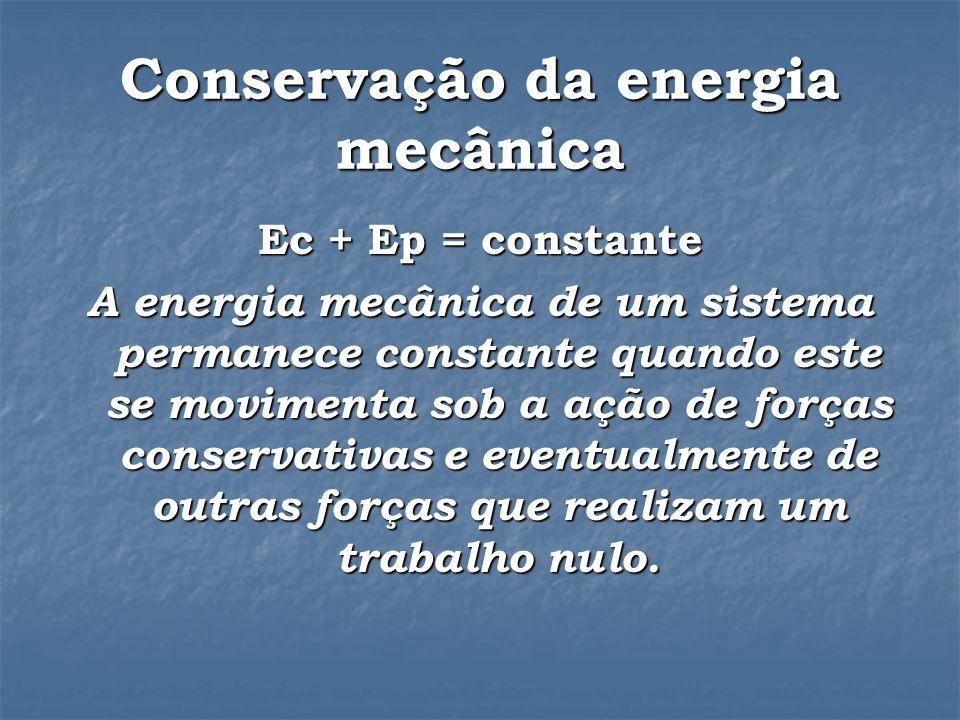 Conservação da energia mecânica Ec + Ep = constante A energia mecânica de um sistema permanece constante quando este se movimenta sob a ação de forças conservativas e eventualmente de outras forças que realizam um trabalho nulo.