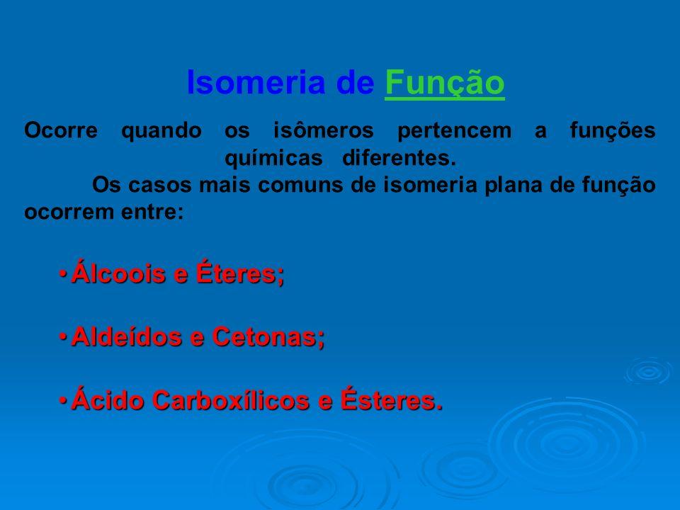 Isomeria de Função Ocorre quando os isômeros pertencem a funções químicas...diferentes. Os casos mais comuns de isomeria plana de função ocorrem entre