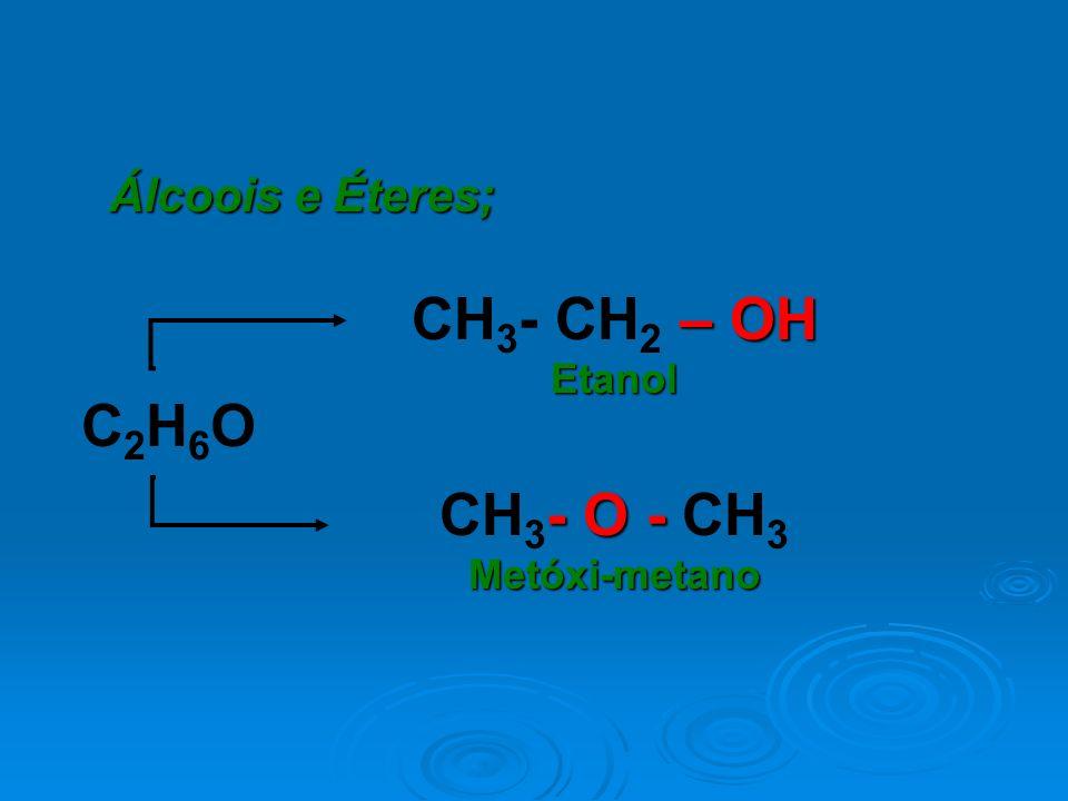 Álcoois e Éteres; – OH CH 3 - CH 2 – OHEtanol - O - CH 3 Metóxi-metano C2H6OC2H6O