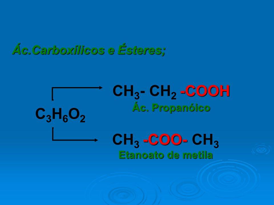 Ác.Carboxílicos e Ésteres; -COOH CH 3 - CH 2 -COOH Ác. Propanóico -COO- CH 3 -COO- CH 3 Etanoato de metila C3H6O2C3H6O2