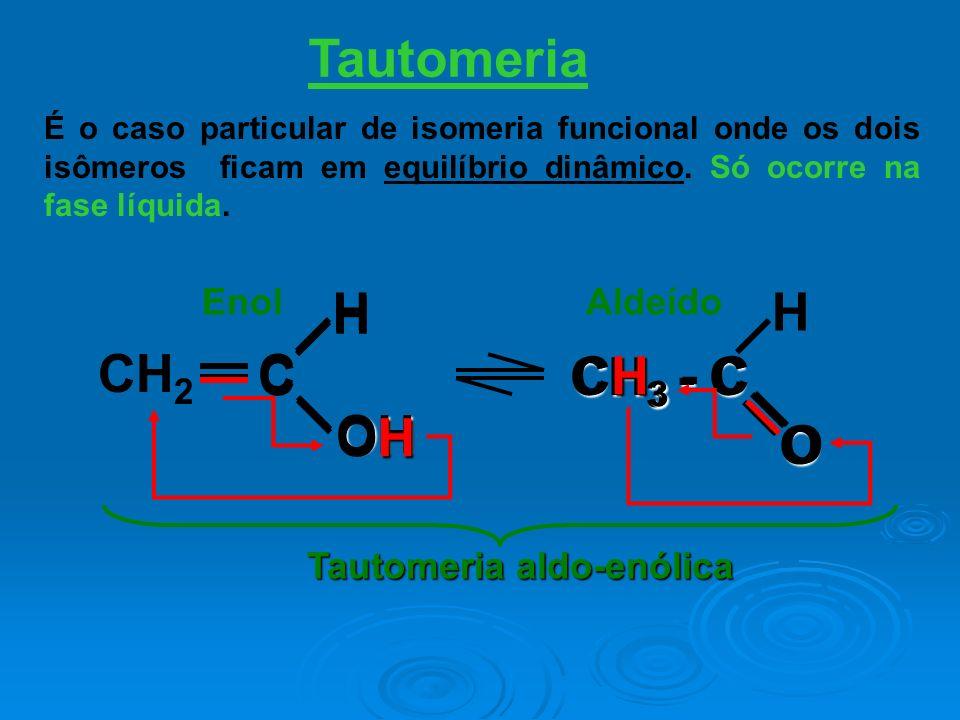 Tautomeria EnolAldeído É o caso particular de isomeria funcional onde os dois isômeros ficam em equilíbrio dinâmico. Só ocorre na fase líquida. C HOH