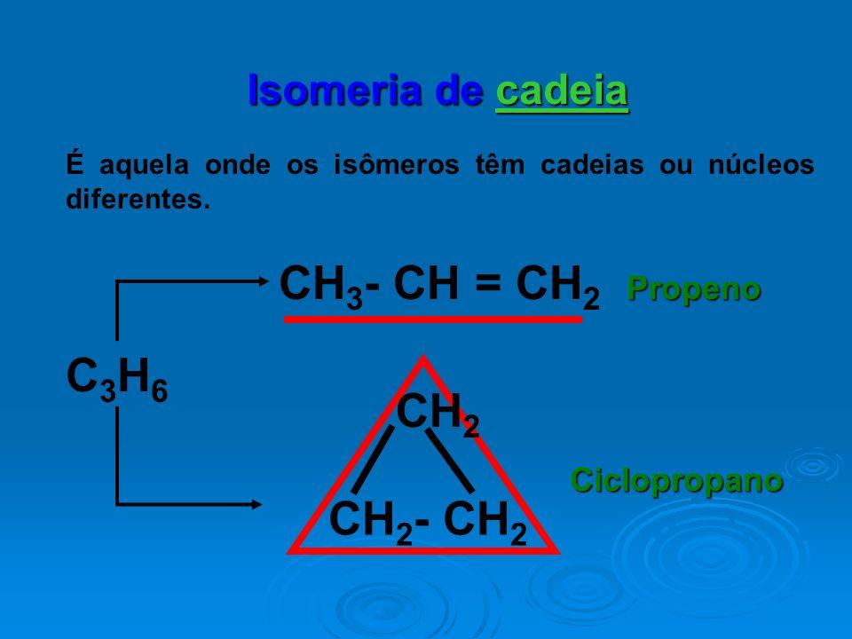 Isomeria de cadeia É aquela onde os isômeros têm cadeias ou núcleos diferentes. CH 3 - CH = CH 2 C3H6C3H6 CH 2 CH 2 - CH 2 Propeno Ciclopropano