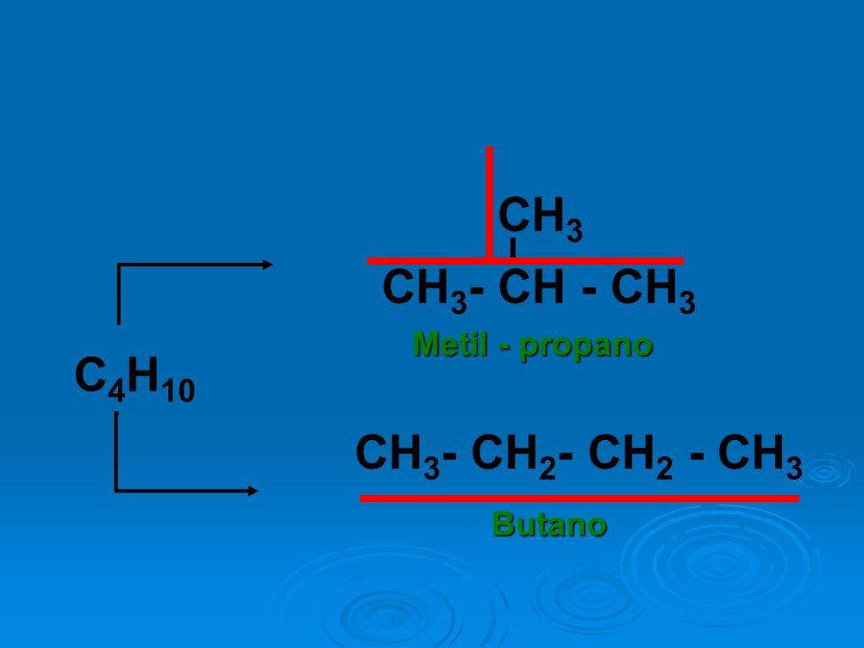 C 4 H 10 CH 3 - CH - CH 3 CH 3 CH 3 - CH 2 - CH 2 - CH 3 Metil - propano Butano