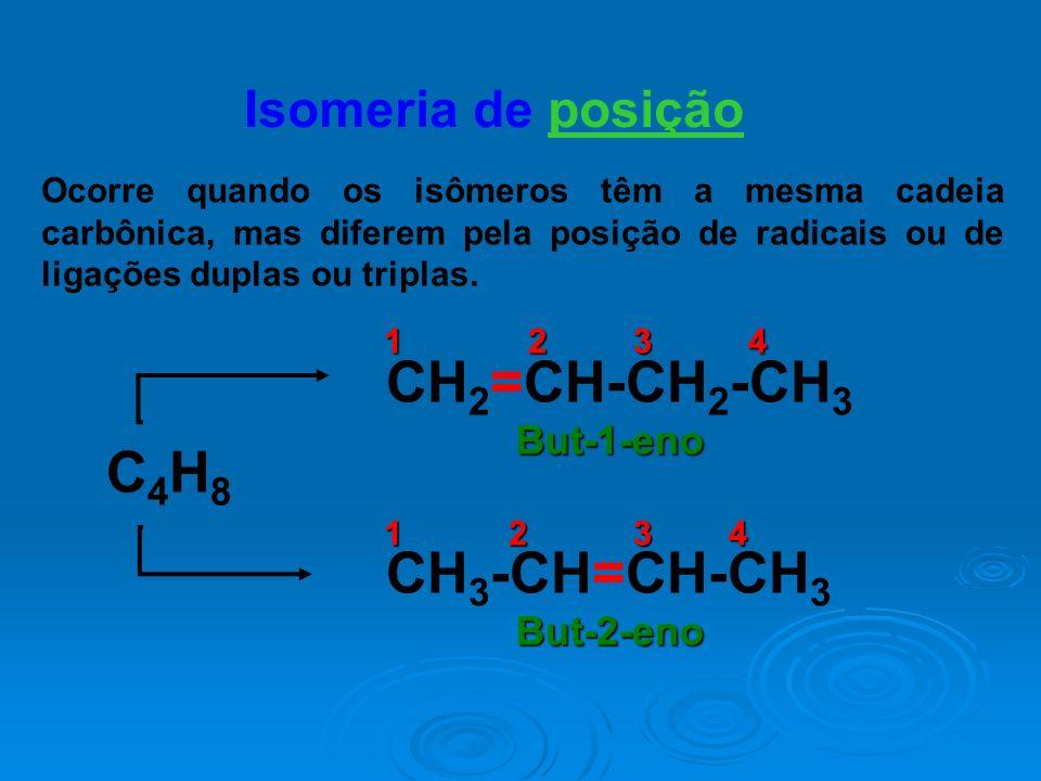 Isomeria de posição Ocorre quando os isômeros têm a mesma cadeia carbônica, mas diferem pela posição de radicais ou de ligações duplas ou triplas. C4H