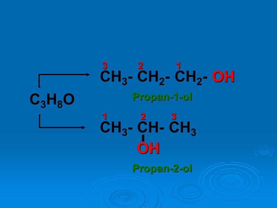 C3H8OC3H8O OH CH 3 - CH 2 - CH 2 - OH 3 2 1 CH 3 - CH- CH 3OH Propan-1-ol Propan-2-ol 1 2 3
